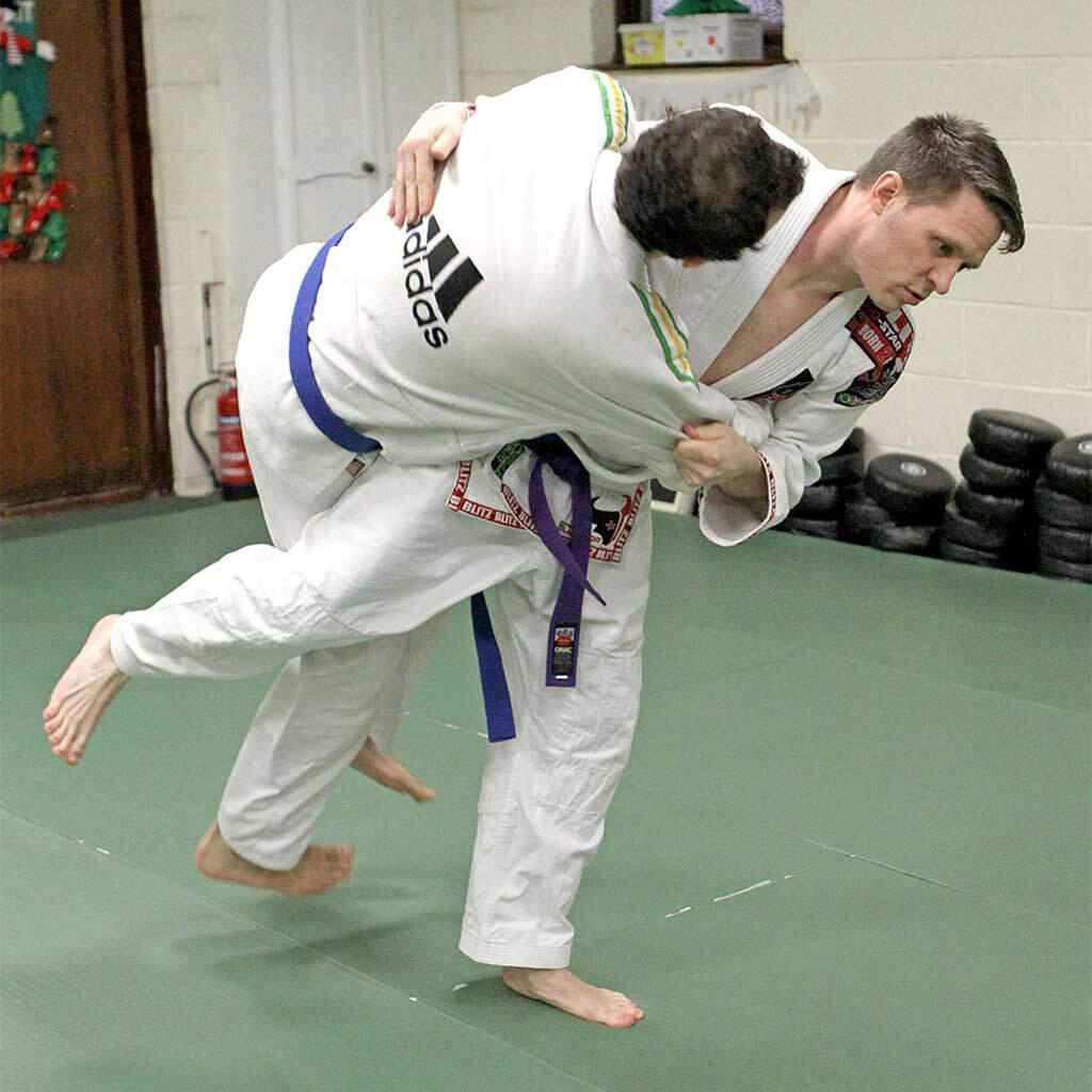 Adult Ju Jitsu student throwing at Warrior Factory Leeds
